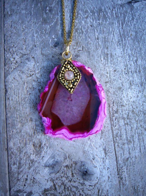 Agaat Steen ketting roze 2