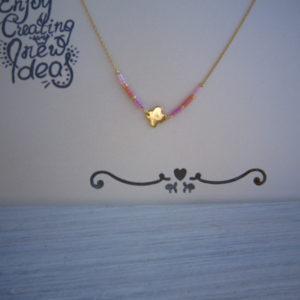 Fijne Klavertje vier Gold plated ketting met kralen