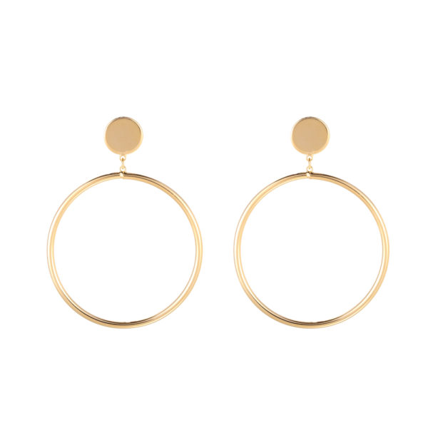 Gold plated oorbellen round & little circle