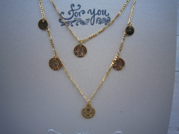 Lange gold plated ketting met muntjes