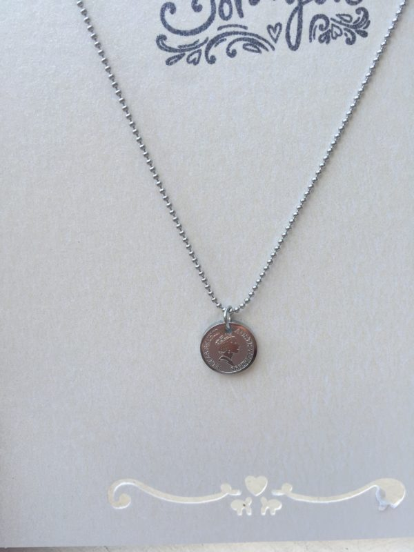 KETTING QUEEN COIN - Stainless steel zilver.