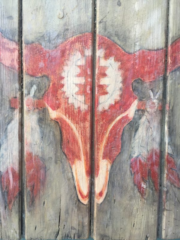 Buffalo scull schilderij-Wandbord.