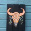Buffalo scull schilderij- wandbord neon oranje.