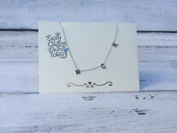 KETTING LUCK QUOTE Zilver