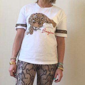 Shirt met panter en steentjes - wit.
