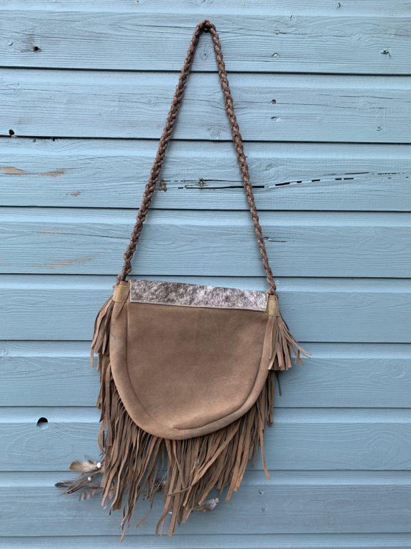 Ibiza Boho Gipsy suede tas met vacht-licht bruin- handmade.