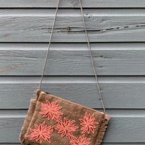 Handmade bohemian clutch met kralen - Pink-Oranje.