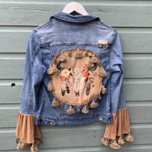 Bohemien jacket Buffalo hoofd-handmade- maat M