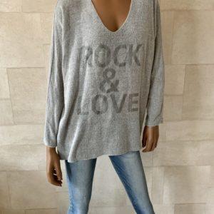 ROCK & LOVE' GEBREIDE TRUI- Grijs.