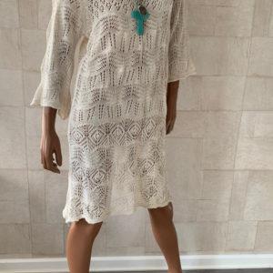 Gebreide off white jurk Lotte - one size