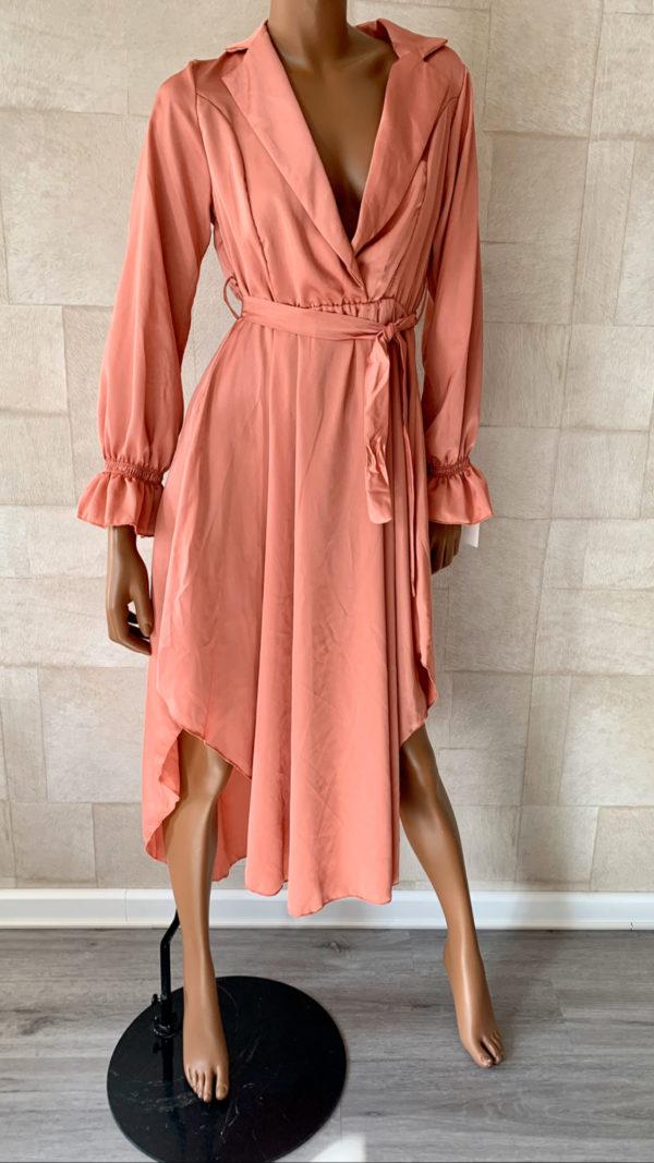 Sara oneven lange polyester jurk. - One size
