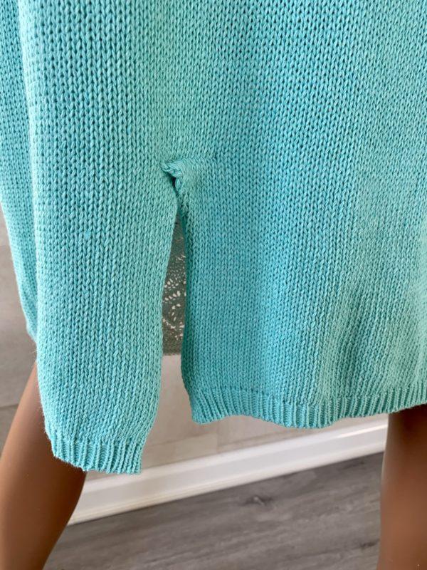 Yara fijn gebreiden katoen vest - turquoise kleur.
