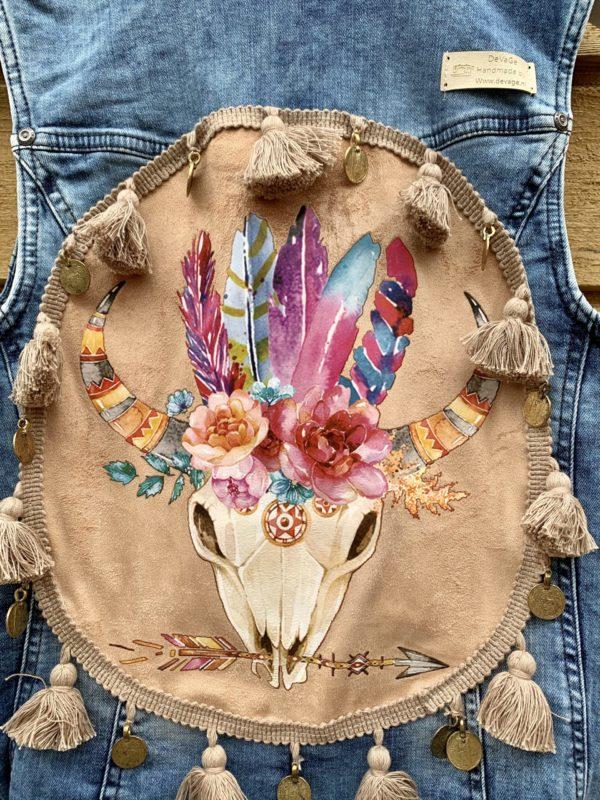 Bohemien gilet Buffalo hoofd-handmade- maat 42.