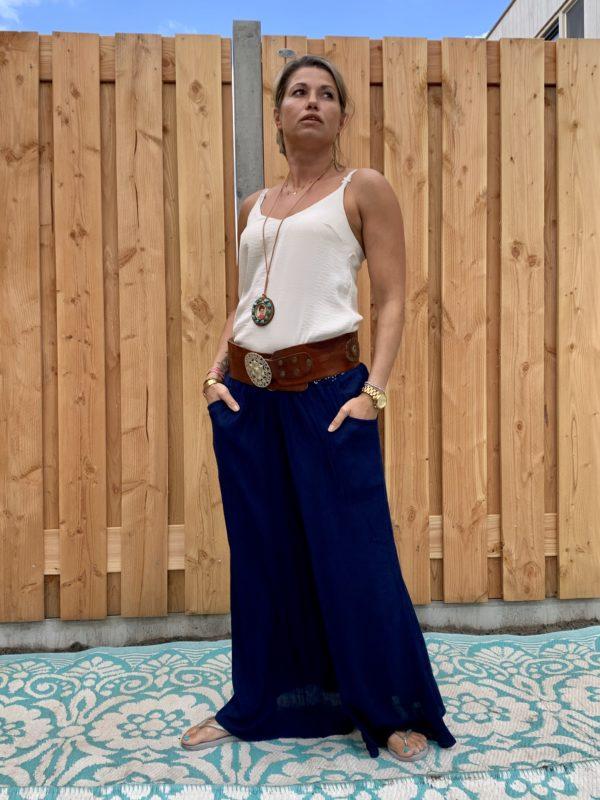 Bohemian donker blauw broek- ONE SIZE.