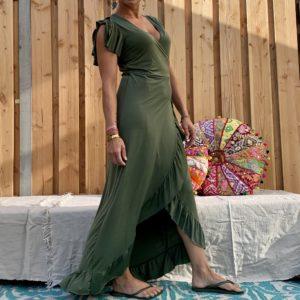 Lange omslag jurk - leger groen.