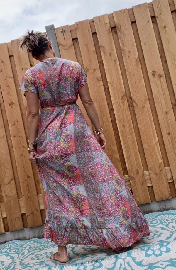Boho wikkel rose jurk -one size.