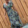Boho wikkel blauw jurk -one size.