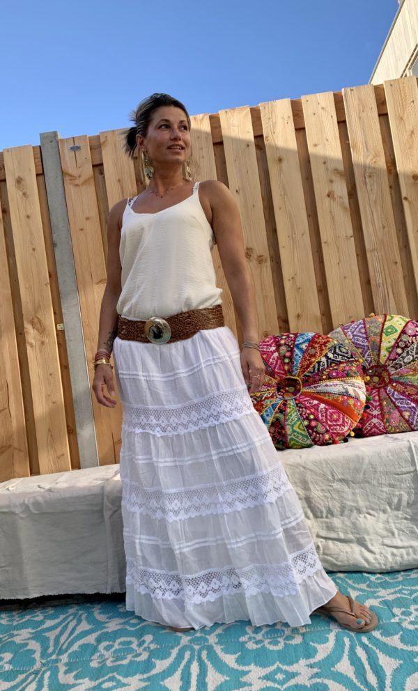 Ibiza Rok met kant off- white.