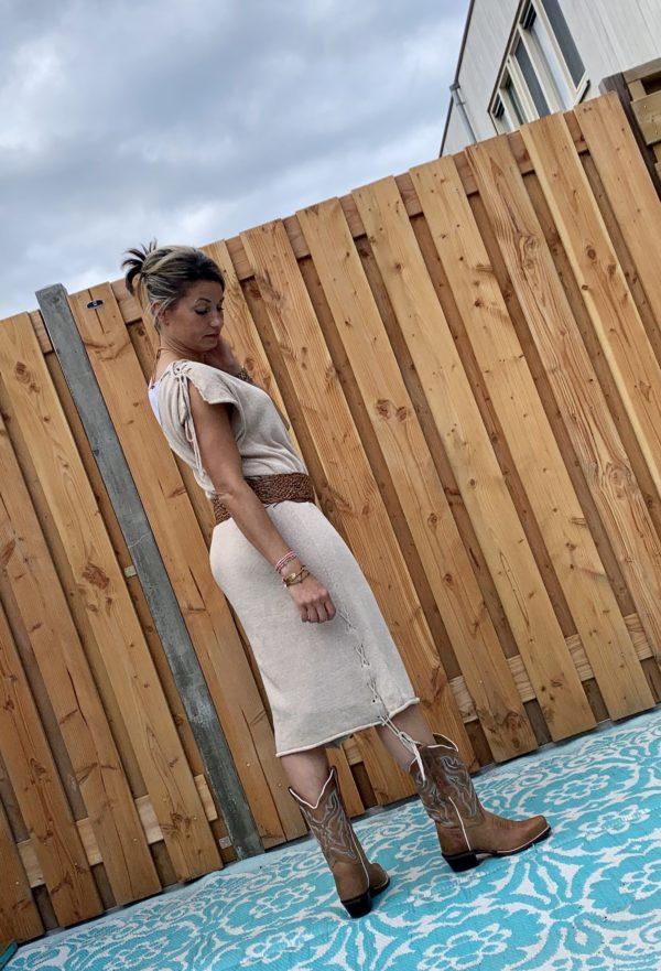 Off schouder crème kleur gebreiden jurk/tuniek – one size.