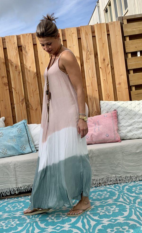Maxi lange drie kleurige jurk.- one size.