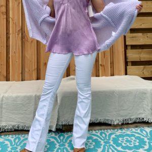 Jessie top met kant – lila kleur one size.