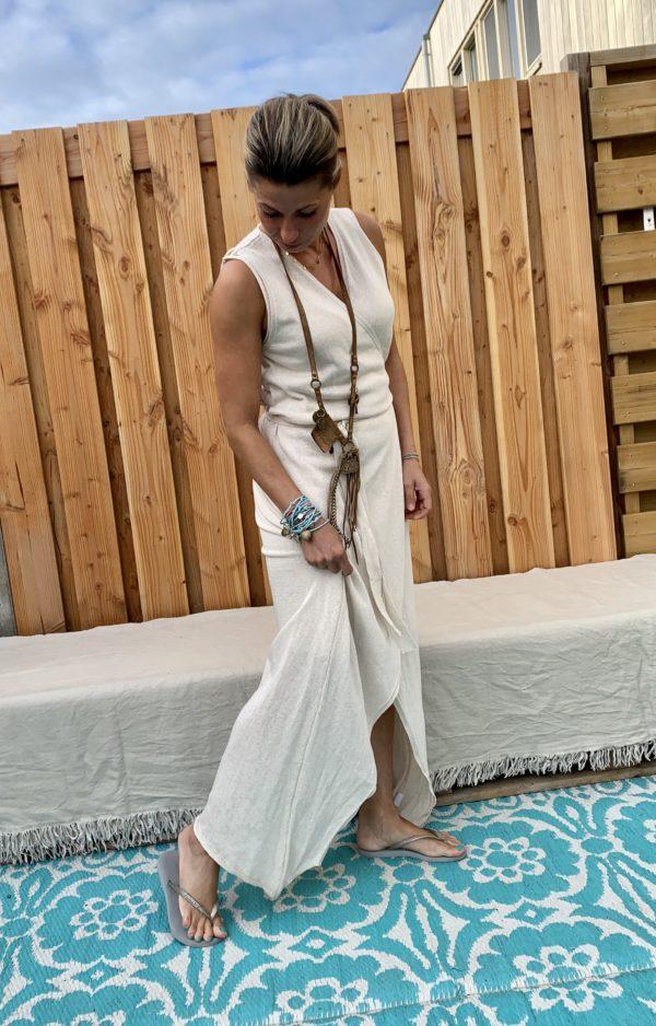 Maxi Gebreide wikkel lange katoenen jurk - off white - one size.