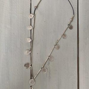 Ketting /Ceintuur riem met muntjes -zilver kleur.
