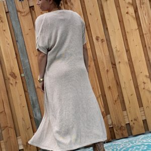 Gebreide Maxi vest crème kleur - one size