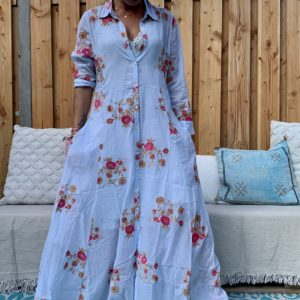 Sumitra Blouse/Jurk met bloemen en glitters -blauw kleur.