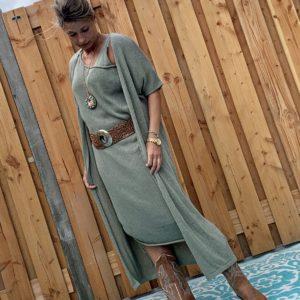 Gebreide Maxi vest leger groen- one size