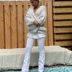 Grof Gebreid Open Off White kleur -one size.