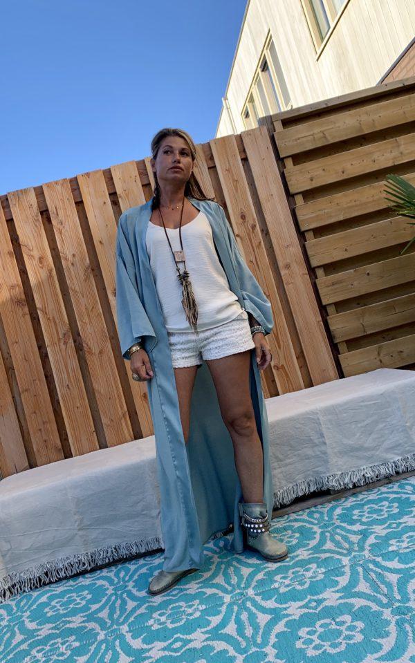 Lange Kimono petrol kleur - one size.