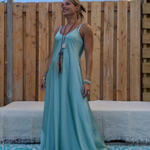 Maxi lange jurk -Satijnen look - Petrol kleur- one size.