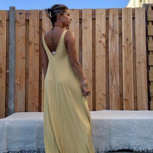 Maxi lange jurk – okra kleur.- one size.