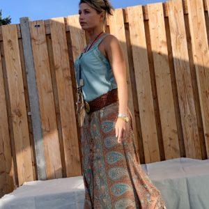 Jessie top met kant – blauw kleur- one size.