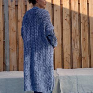 Olivia grof gebreide vest – donker blauw .