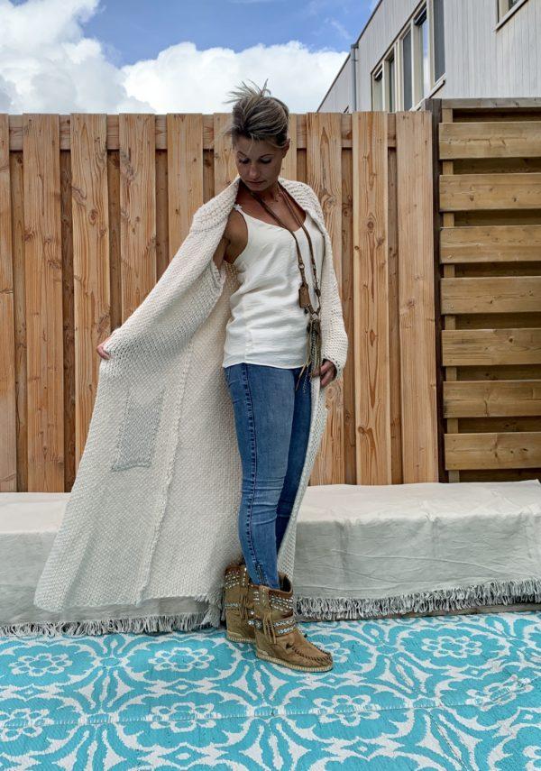 Martina Maxi grof gebreide vest off white - one size.