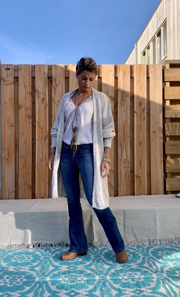 Noa driekwart dames vest, licht grijs kleur - one size.