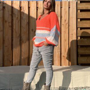 Corduroy elastische baggy broek- Licht Grijs kleur- ONE SIZE.