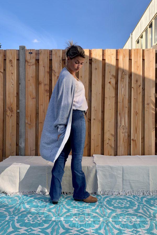 Noa driekwart dames vest, licht blauw kleur - one size.