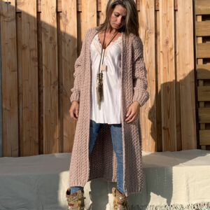 Olivia grof gebreid vest – Rose kleur- one size