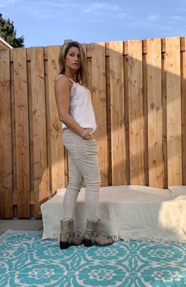 Corduroy elastische baggy broek- Taupe kleur- ONE SIZE.