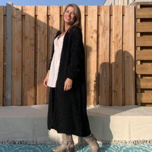 Olivia grof gebreid vest – Zwarte kleur - one size.
