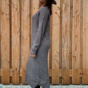 Sofia Maxi gebreiden donker grijs jurk - one size.