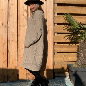 Greta Trui/jurk met V-hals - Crème kleur- one size.