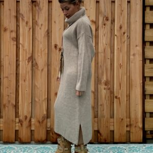 Amara coltrui/jurk camel kleur - one size.
