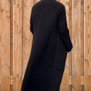 Martina Maxi grof gebreid vest Zwart kleur– one size.