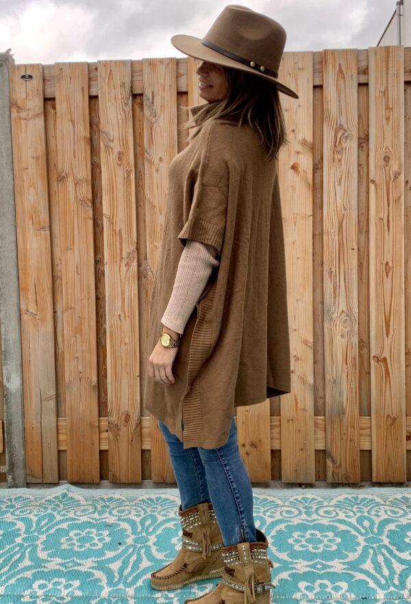 Dames Hoed -bruin kleur -one size.