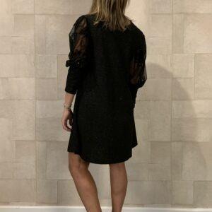 Zwarte glitter jurk met bewerkte mouwen - one size .