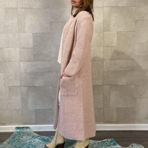 Martina Maxi grof gebreid vest Poeder Roze kleur – one size